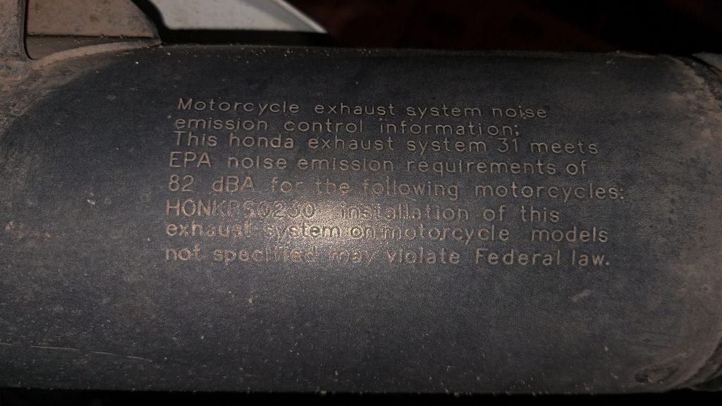 CRF230F EPA noise emission requirement info