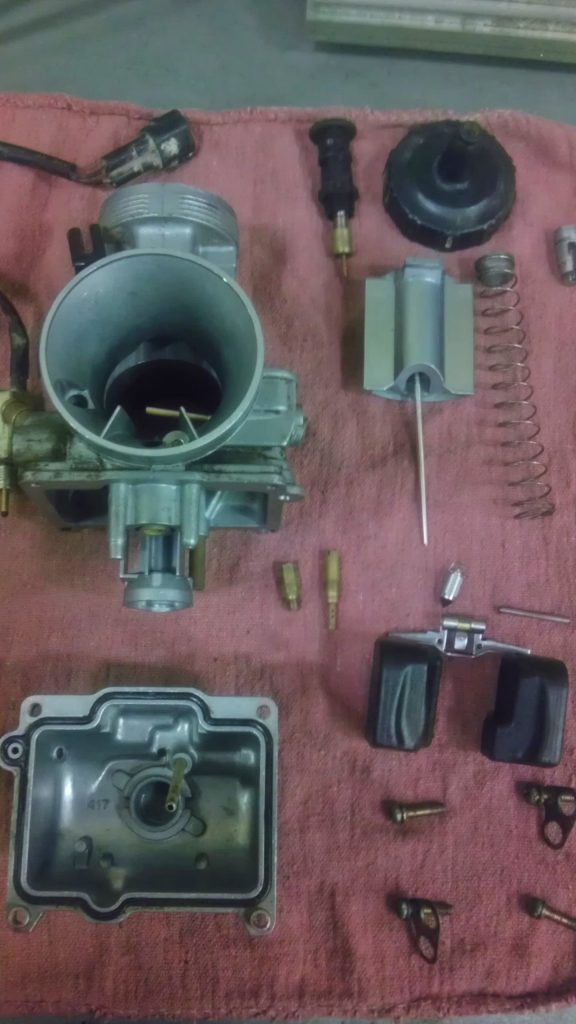 Keihin PWK 38mm carb torn down for cleaning
