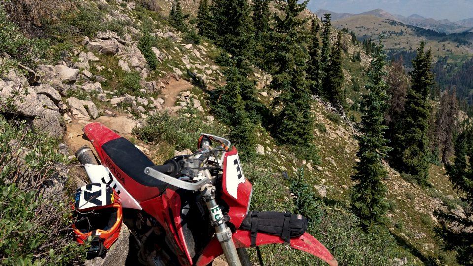 Single track trail on my CRF230F 4 stroke dirt bike
