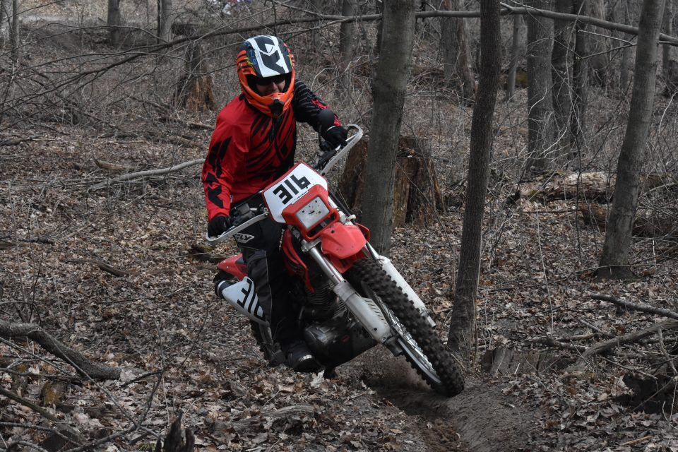 Standing up while riding single track trail
