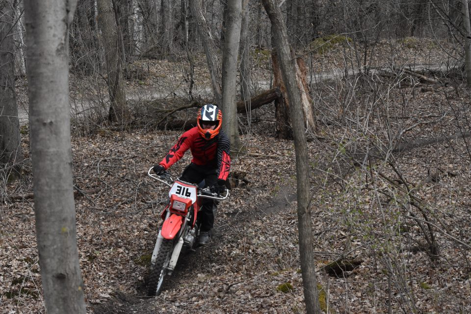 Using my legs as suspension on the dirt bike trail
